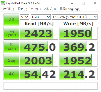 Ryzen5 3500 CrystalDiscMarkベンチマーク