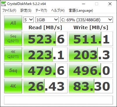 Crucial MX300 525GB ベンチマーク